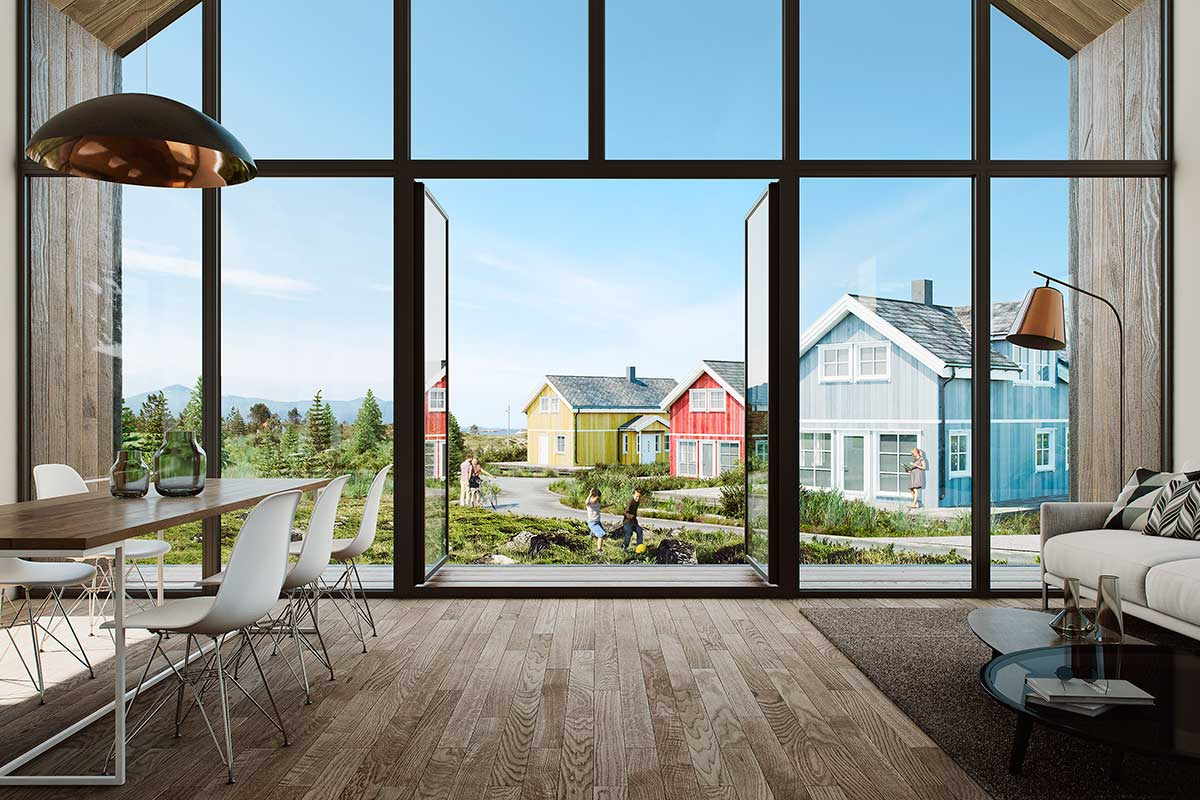 3D rendering homes Lysoya, Norway