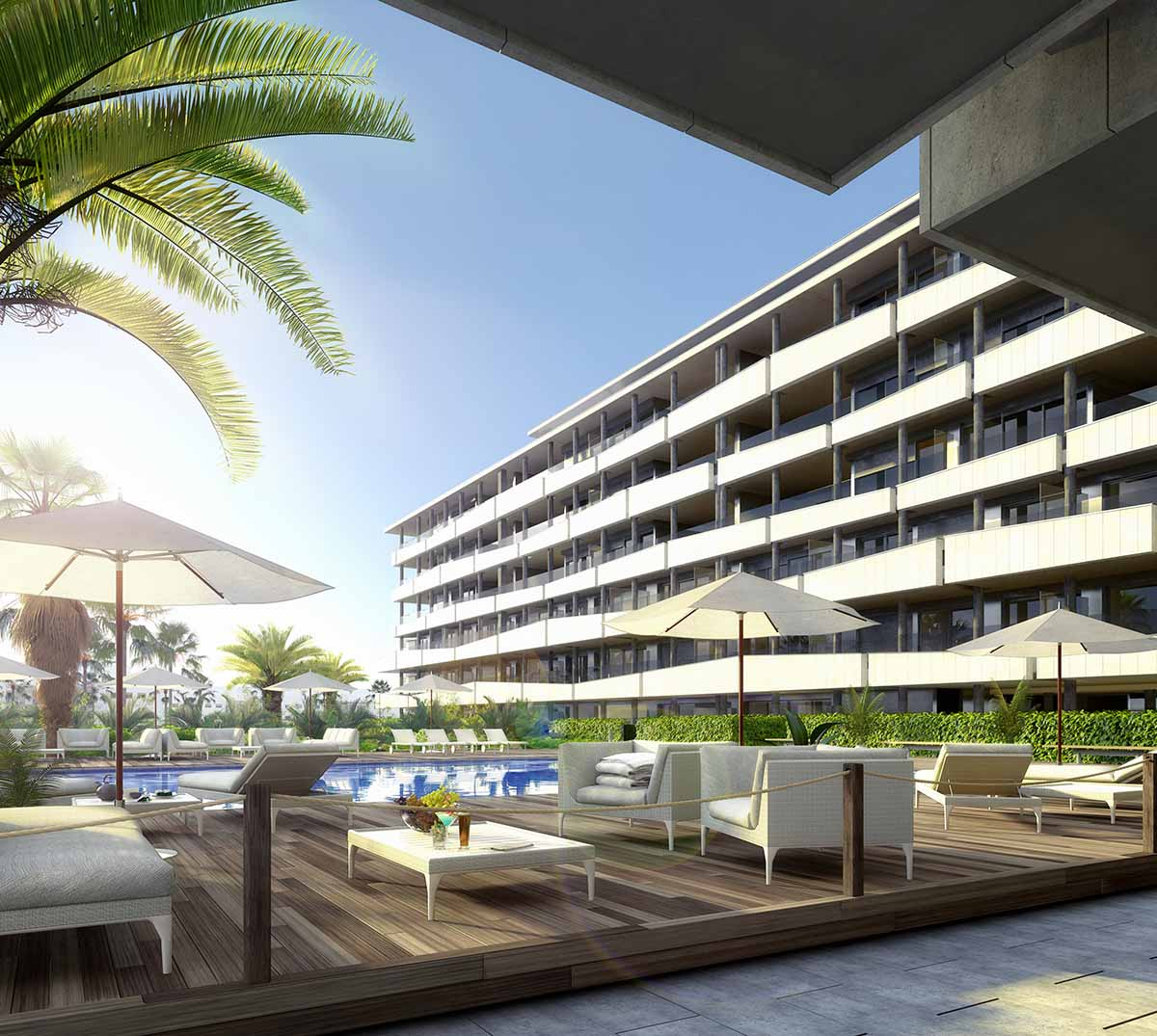 3d visualisation apartment building ibiza