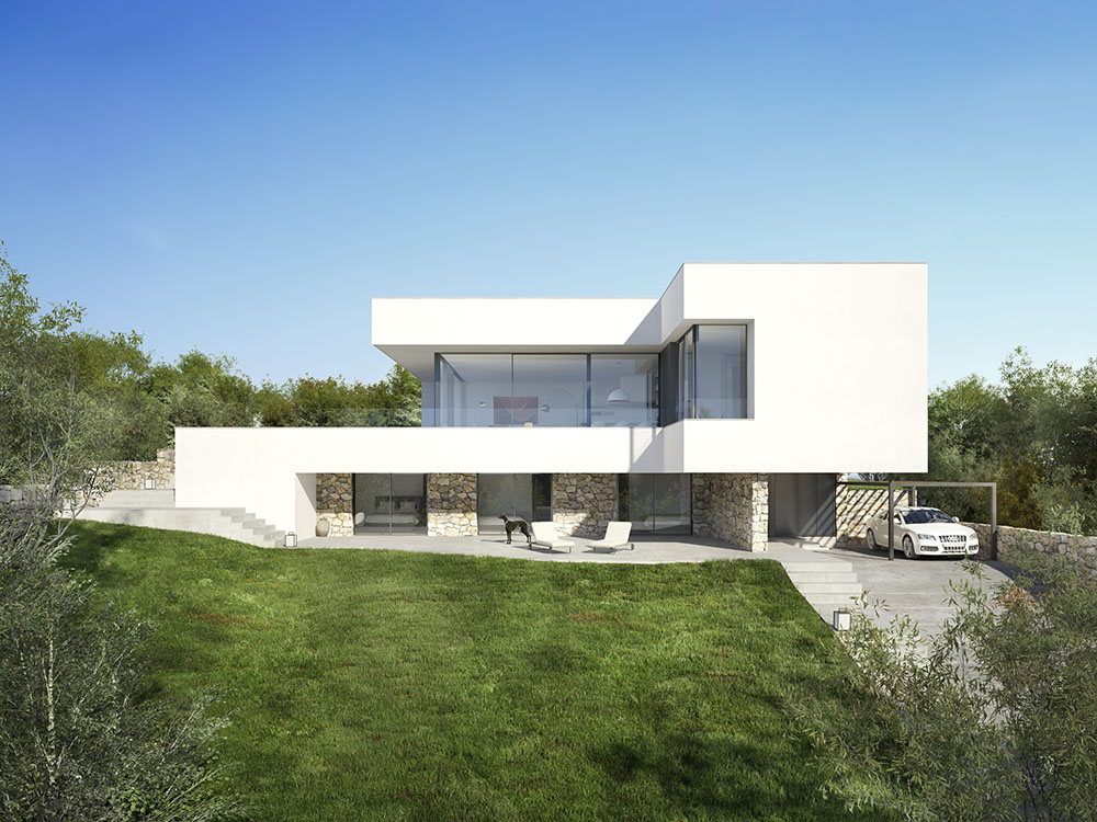 3d visualisation luxury house ibiza front side