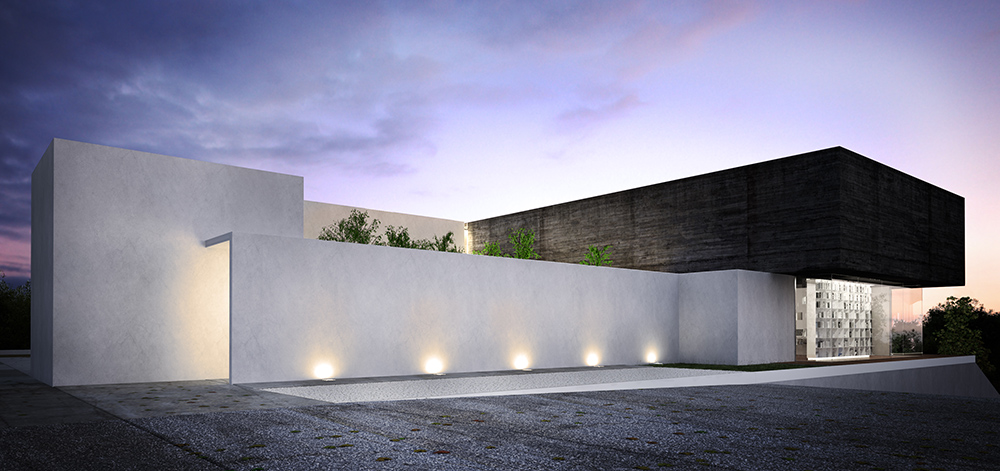 3d exterior night visualisation luxury house mexico