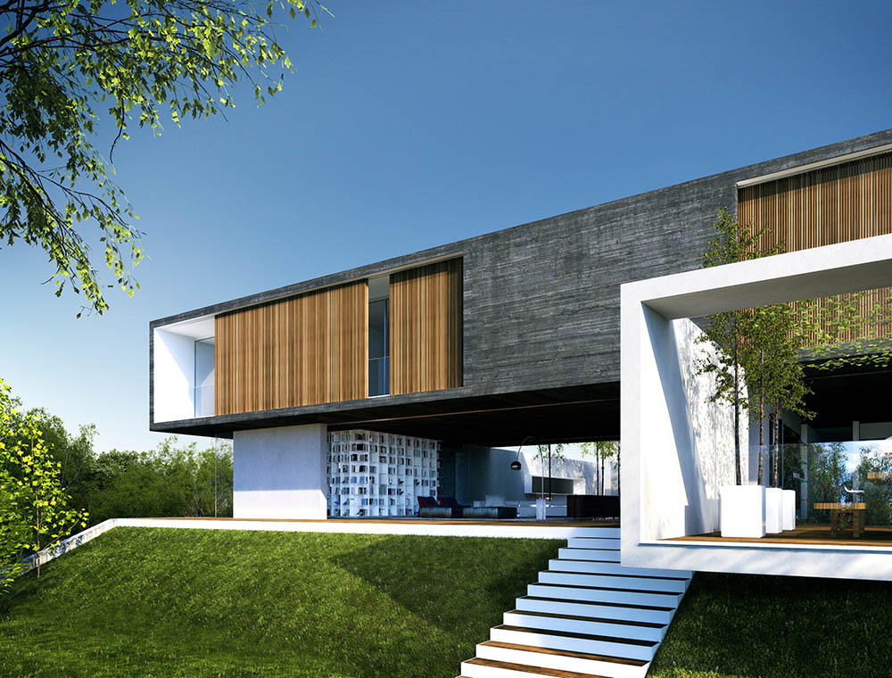 3d exterior day visualisation luxury house mexico