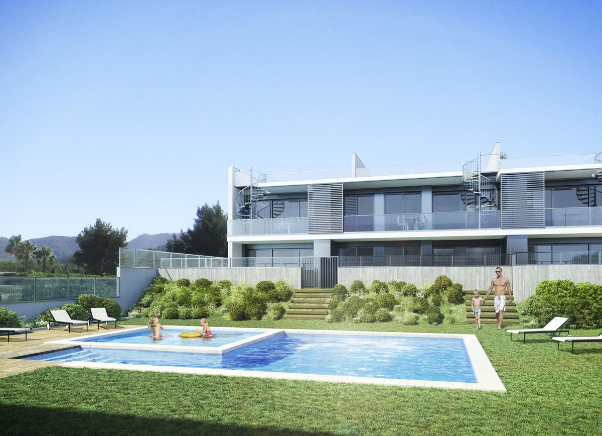 Architectural rendering dwellings ibiza