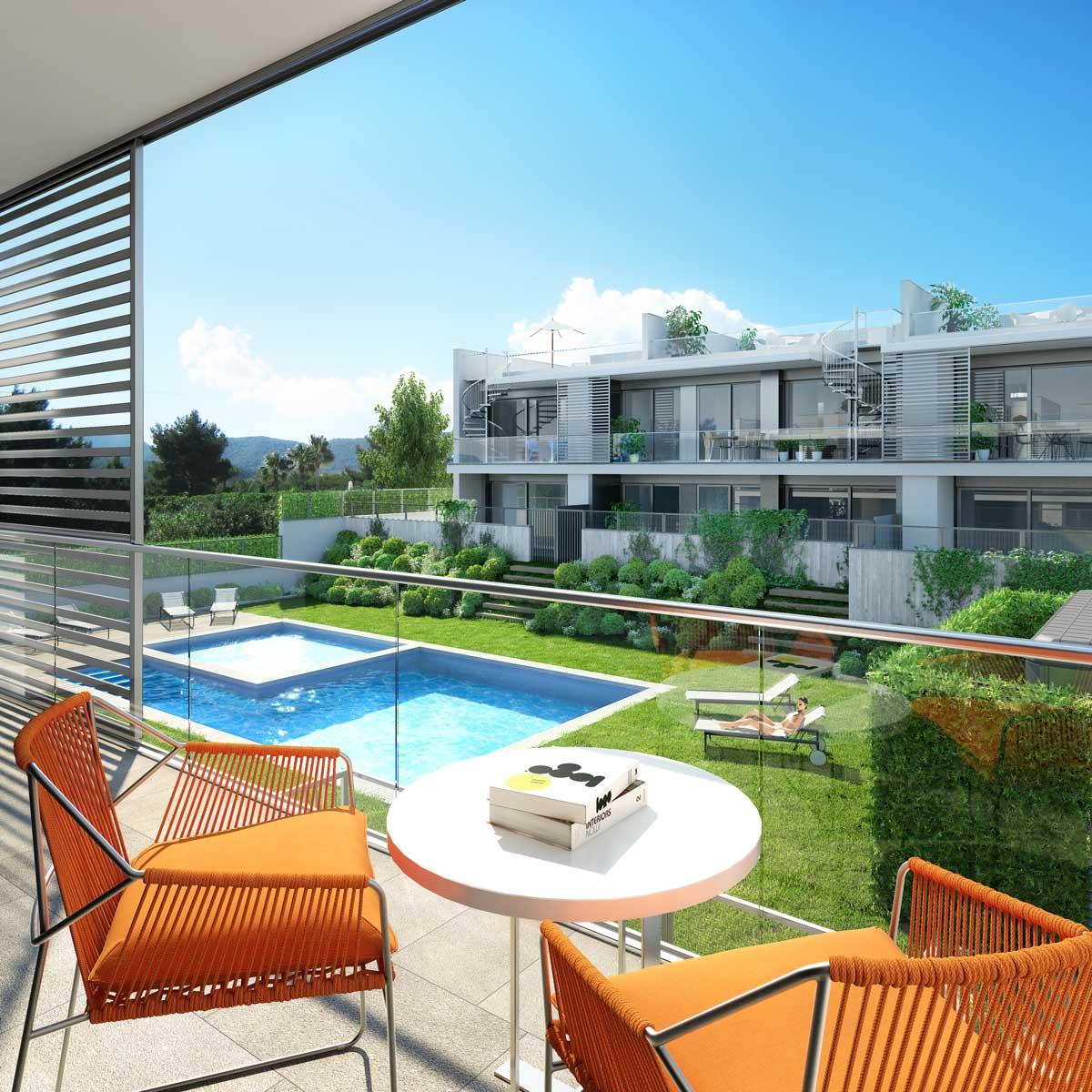 Architectural rendering dwellings ibiza