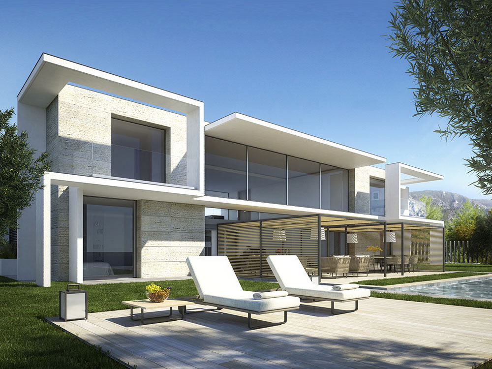 Photorealistic rendering luxury villa front side