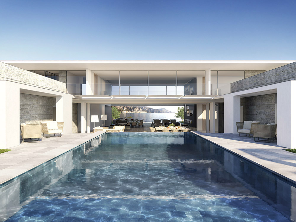 Photorealistic rendering luxury villa swimming pool