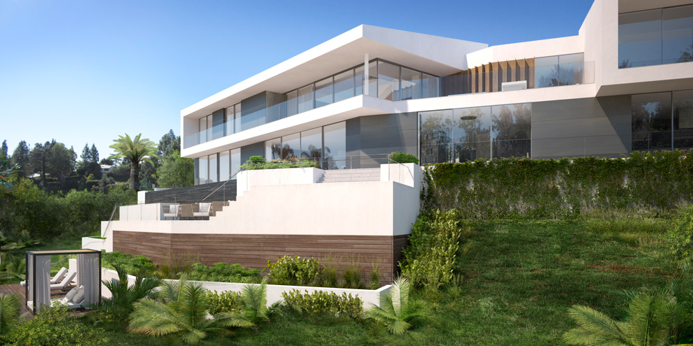 rendering 3d exterior front luxury house Bel Air