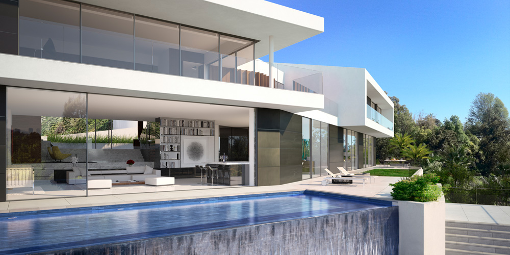 rendering 3d exterior pool luxury house Bel Air 02