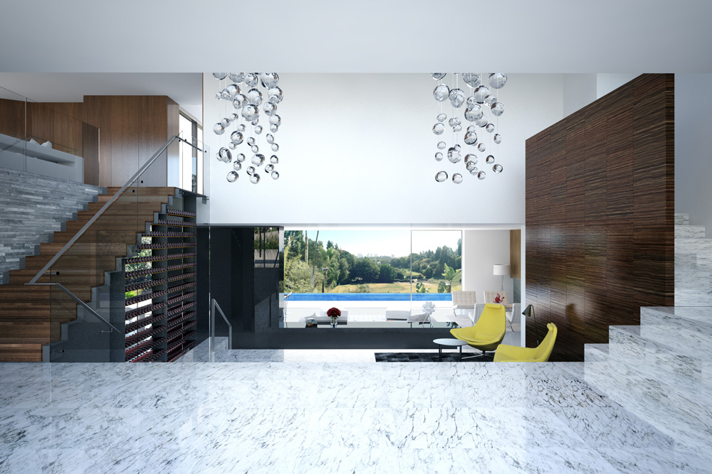 rendering 3d interior mezzanine luxury house Bel Air