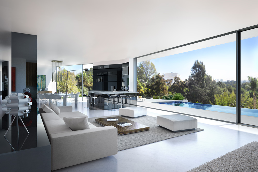 rendering 3d interior living luxury house Bel Air