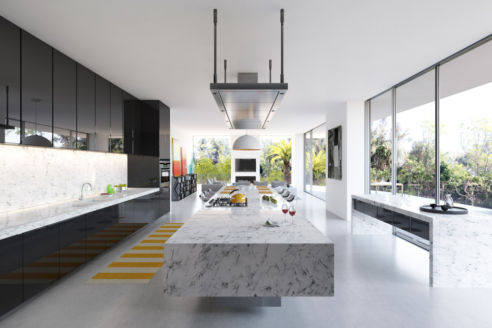 rendering 3d interior kitchen luxury house Bel Air