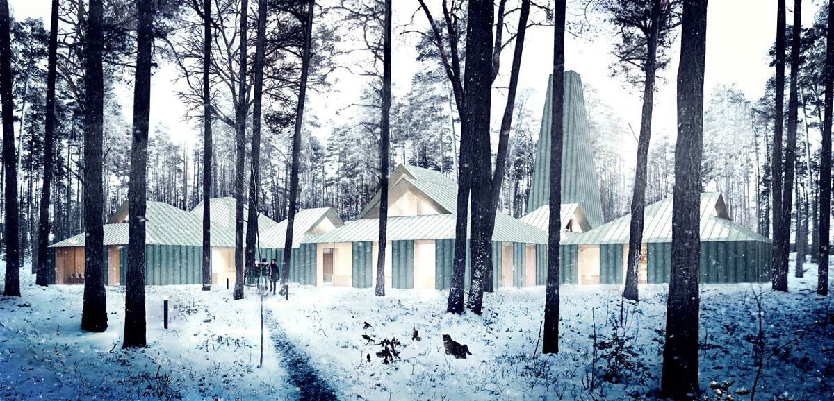 architectural rendering for the architectural competition of the Arvo Pärt Centre