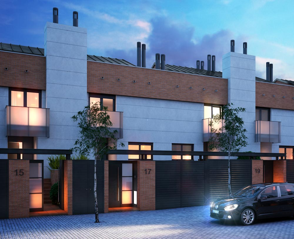 architectural rendering townhouses madrid