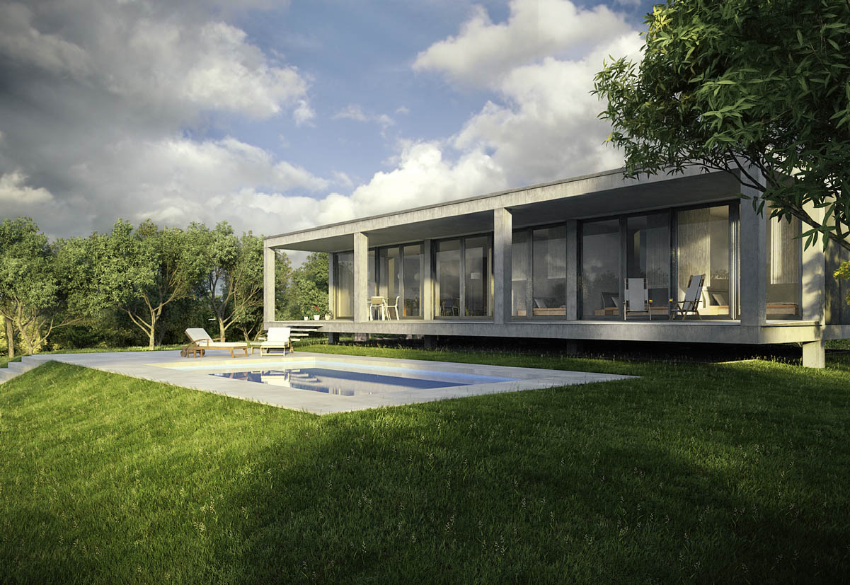exterior rendering detached house and swimming pool