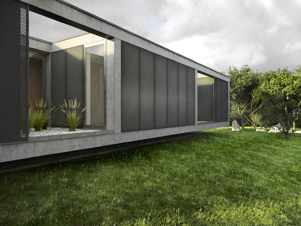 exterior rendering detached house courtyard