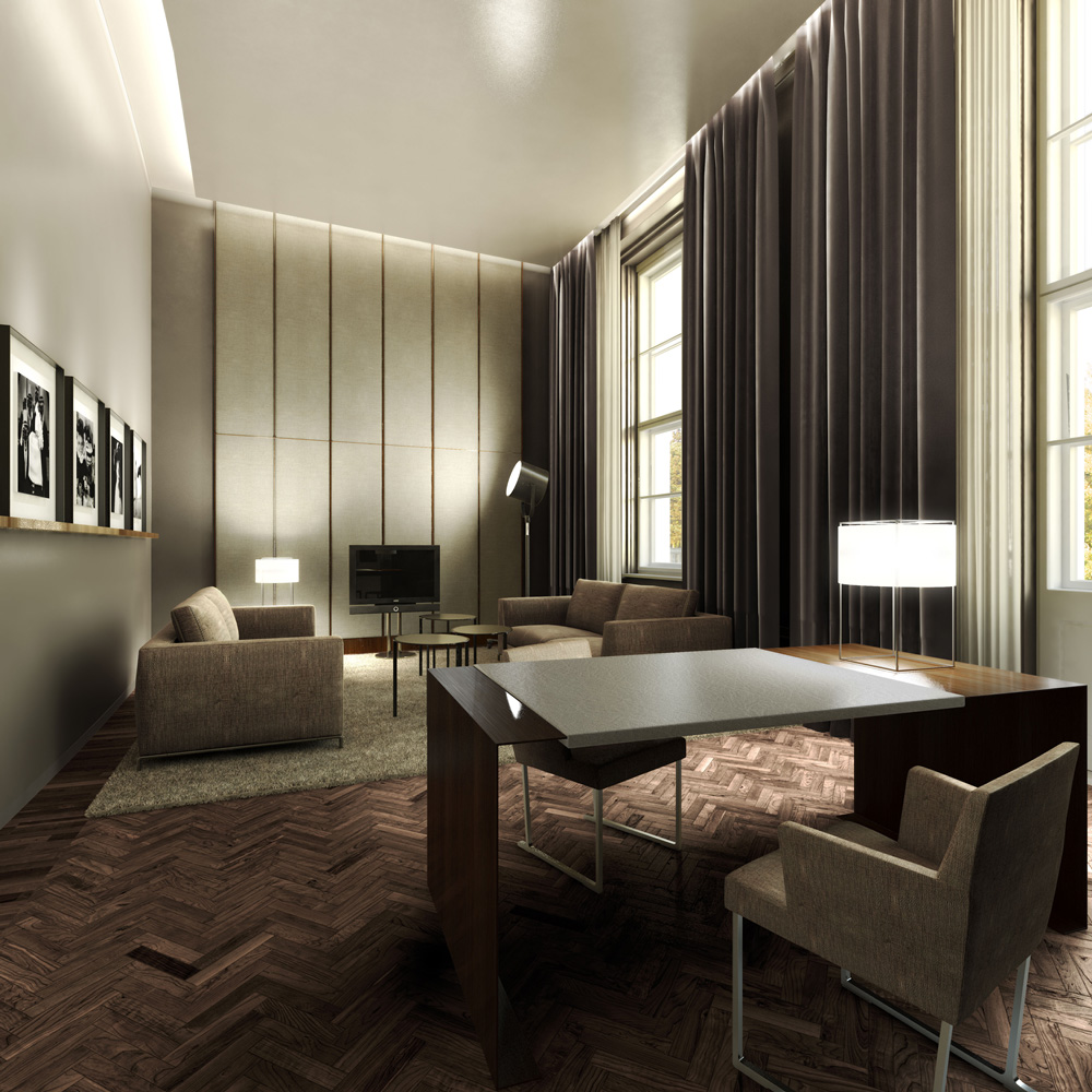 Architectural rendering 3d interior design of a five for Design hotel 3d