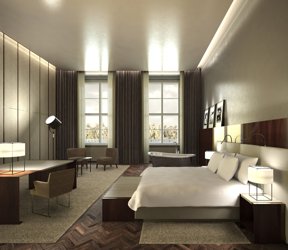 architectural rendering 3d interior design of a five star hotel in berlin. Black Bedroom Furniture Sets. Home Design Ideas