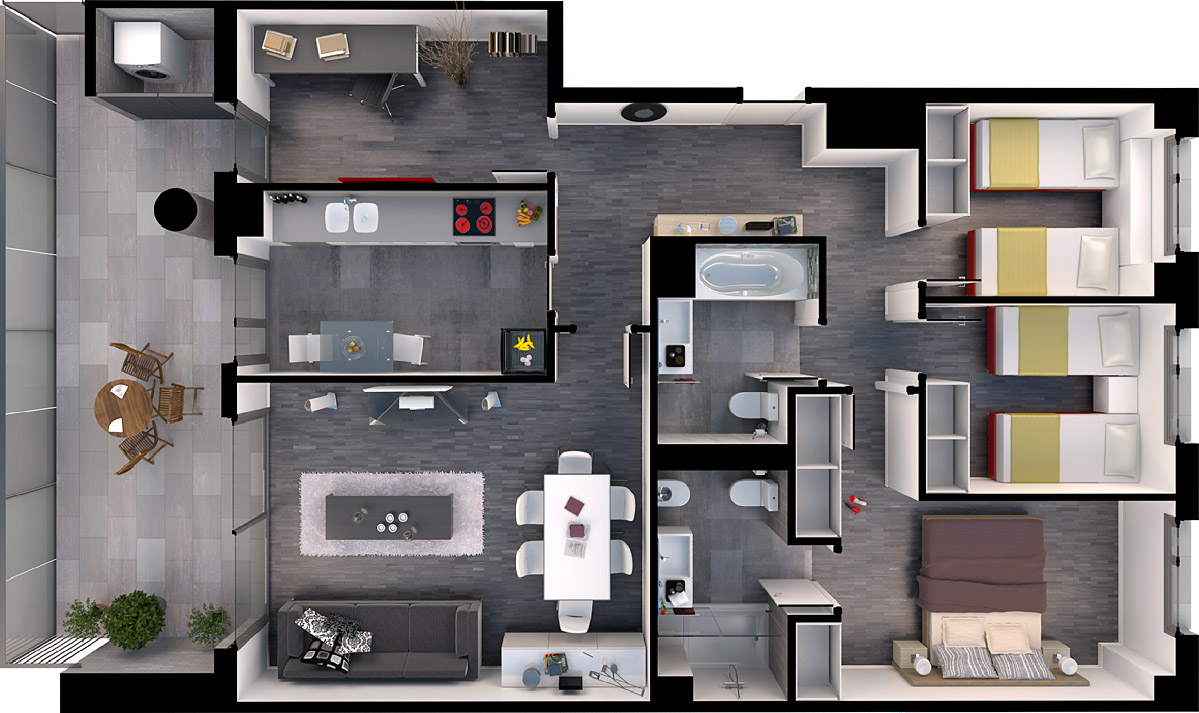 3D commercial floor plans