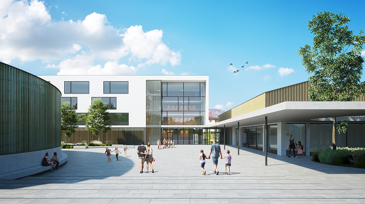 Architectural rendering competition school in La Tour-de-Peilz