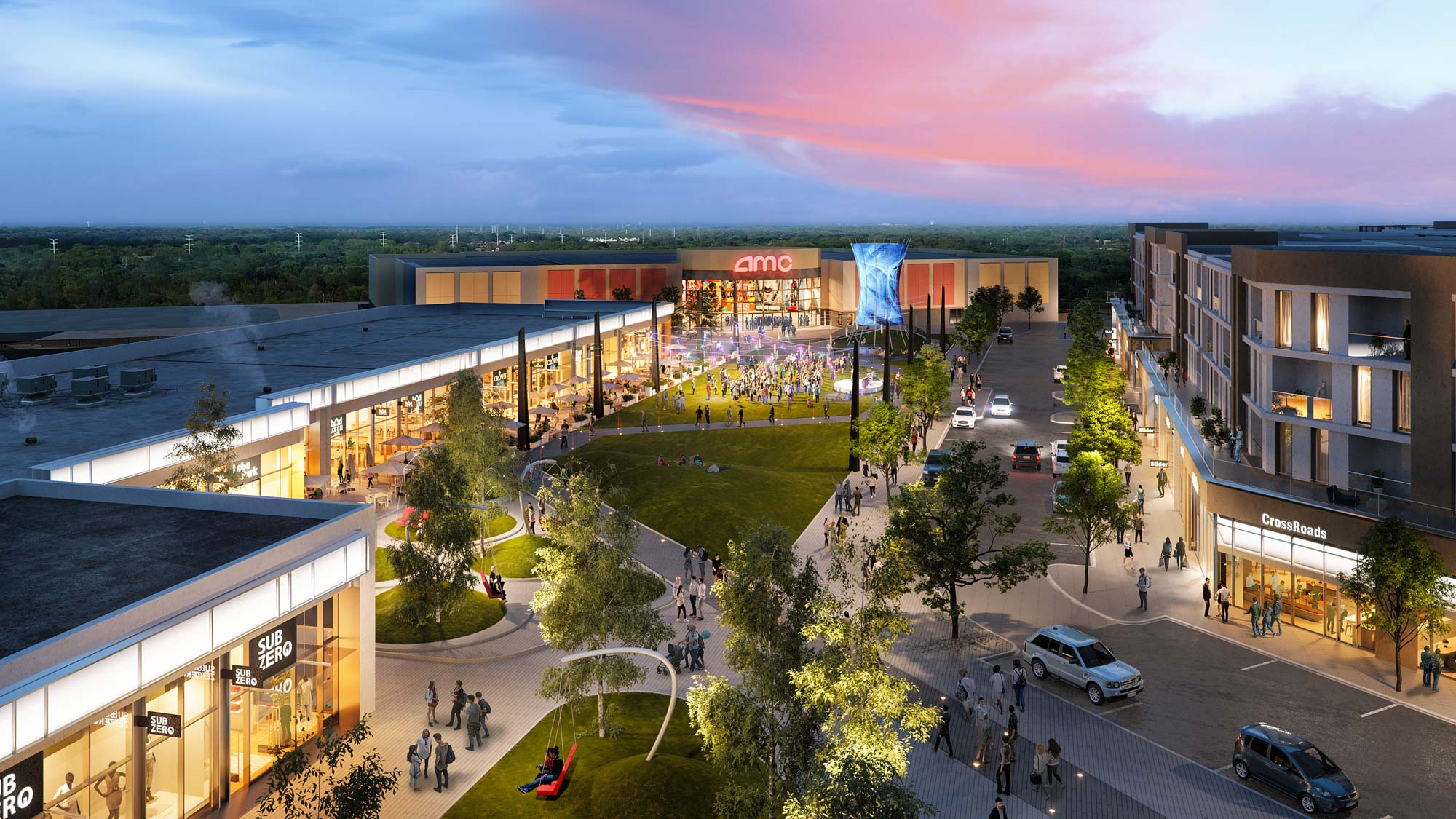 rendering shopping center Rosedale