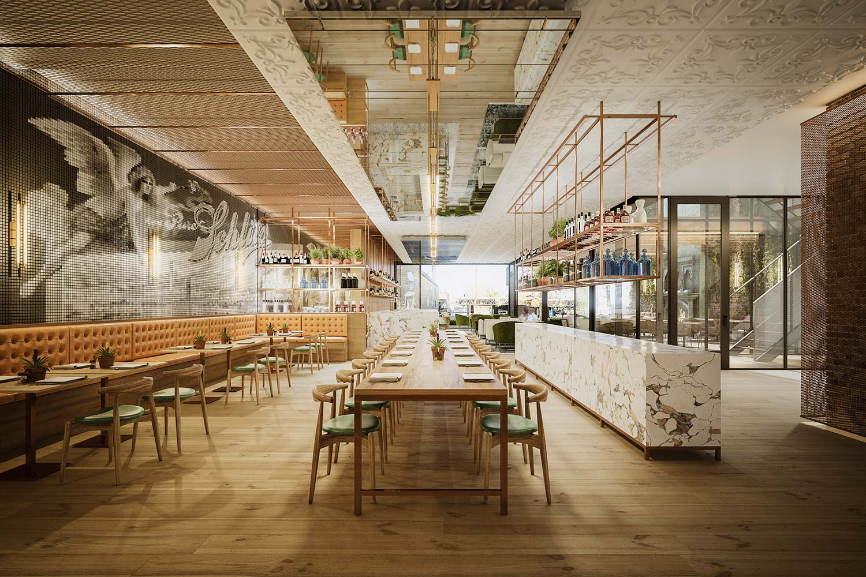 architectural rendering restaurant renderings designed by gensler